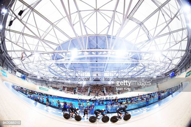 Matt New Zealnd compete in the Men's Team Sprint Qualifying during the Track Cycling on day one of the Gold Coast 2018 Commonwealth Games at Anna...