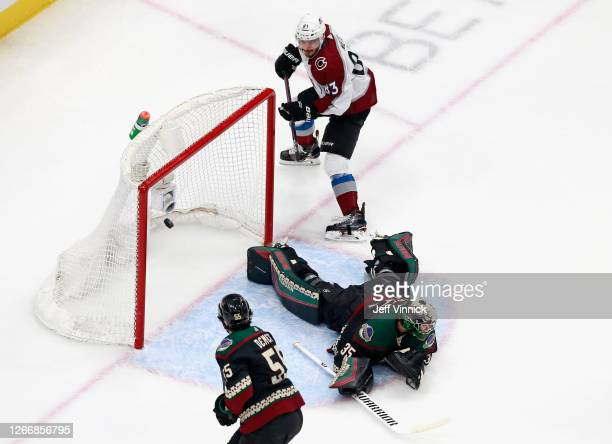 Matt Nieto of the Colorado Avalanche scores at 14:07 of the first period against Darcy Kuemper of the Arizona Coyotes in Game Four of the Western...
