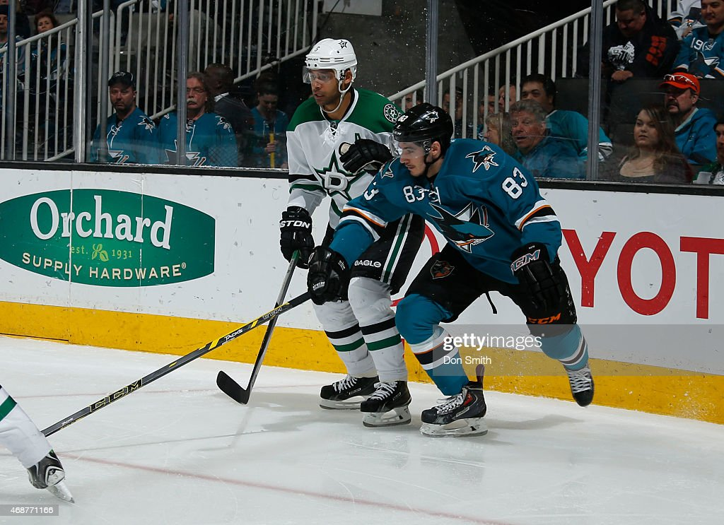 Matt Nieto #83 of the San Jose Sharks battles for the puck against Trevor Daley #6 of the Dallas Stars at the SAP Center on April 6, 2015 in San Jose, California.