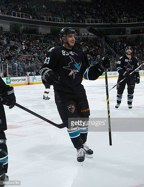 Matt Nieto of the San Jose Sharks celebrates a goal against the Boston Bruins during an NHL game on December 4, 2014 at SAP Center in San Jose,...