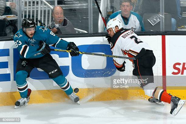 Matt Nieto of the San Jose Sharks skates against Kevin Bieksa of the Anaheim Ducks during a NHL game at SAP Center at San Jose on November 26, 2016...