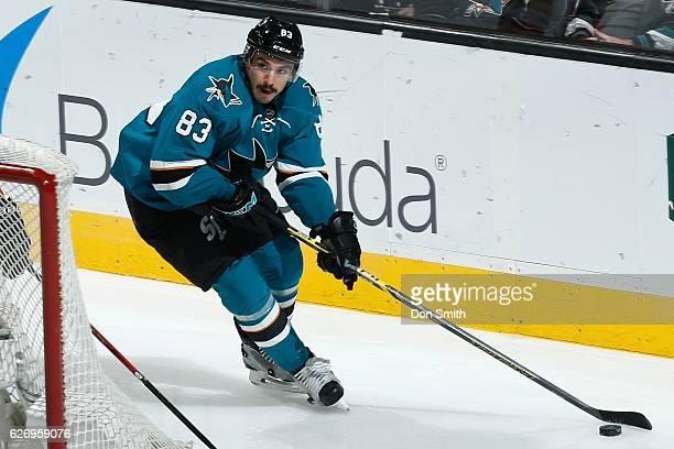 Matt Nieto of the San Jose Sharks skates during a NHL game against the Anaheim Ducks at SAP Center at San Jose on November 26, 2016 in San Jose,...