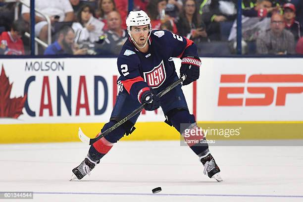 Matt Niskanen of Team USA passes the puck during the second period of an exhibition game against Team Canada on September 9 2016 at Nationwide Arena...