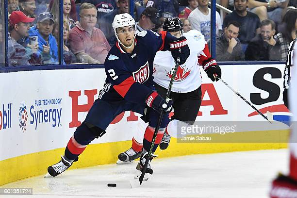 Matt Niskanen of Team USA skates with the puck during the third period of an exhibition game against Team Canada on September 9 2016 at Nationwide...