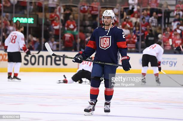 Matt Niskanen of Team USA warms up prior to a game against Team Canada during the World Cup of Hockey 2016 at Air Canada Centre on September 20 2016...