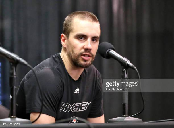Matt Niskanen of the Philadelphia Flyers speaks to the media after being defeated 20 by the Boston Bruins on March 10 2020 at the Wells Fargo Center...