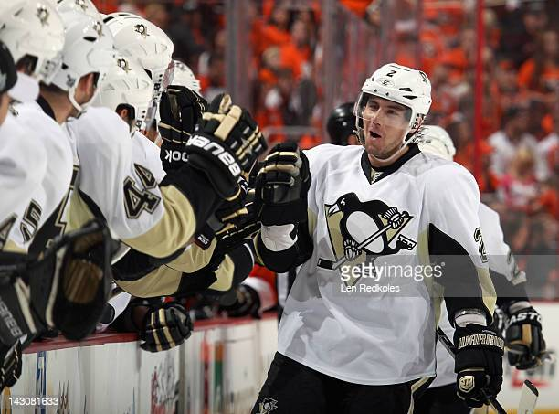 Matt Niskanen of the Pittsburgh Penguins celebrates his first period powerplay goal against the Philadelphia Flyers his first of the playoffs in Game...