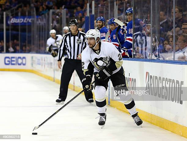 Matt Niskanen of the Pittsburgh Penguins controls the puck against the New York Rangers during Game Six of the Second Round of the 2014 NHL Stanley...