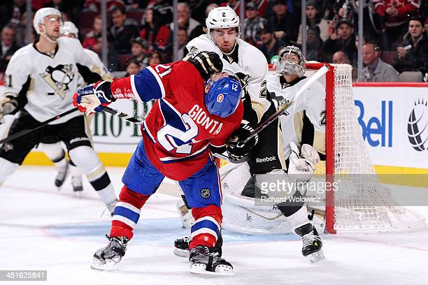 Matt Niskanen of the Pittsburgh Penguins is called for roughing Brian Gionta of the Montreal Canadiens during the NHL game at the Bell Centre on...