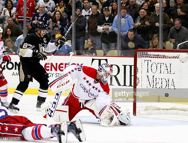 Matt Niskanen of the Pittsburgh Penguins scores the game winning goal past Braden Holtby of the Washington Capitals during the game at Consol Energy...