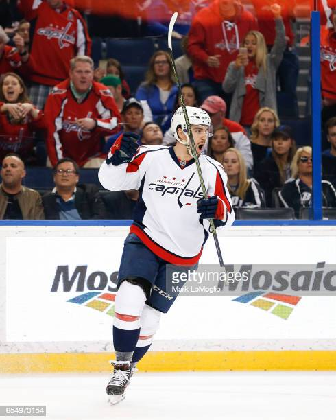 Matt Niskanen of the Washington Capitals celebrates a goal against the Tampa Bay Lightning at Amalie Arena on March 18 2017 in Tampa Florida