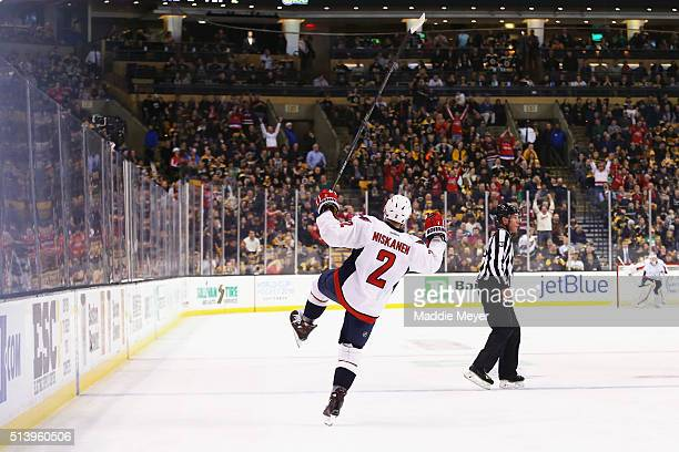 Matt Niskanen of the Washington Capitals celebrates after scoring the game winning goal during overtime against the Boston Bruins at TD Garden on...