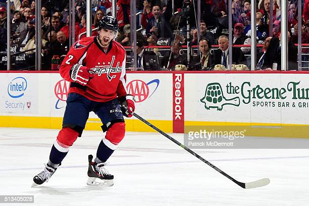Matt Niskanen of the Washington Capitals celebrates his third period goal during their game against the Toronto Maple Leafs at Verizon Center on...