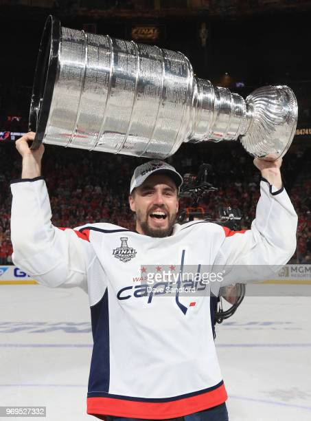 Matt Niskanen of the Washington Capitals celebrates with the Stanley Cup after the Capitals defeated the Vegas Golden Knights 43 in Game Five of the...
