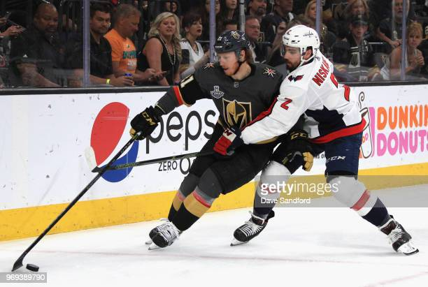 Matt Niskanen of the Washington Capitals chases Jonathan Marchessault of the Vegas Golden Knights during the first period of Game Five of the 2018...