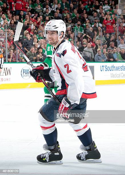 Matt Niskanen of the Washington Capitals skates against the Dallas Stars at the American Airlines Center on January 17 2015 in Dallas Texas