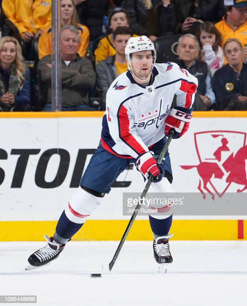 Matt Niskanen of the Washington Capitals skates against the Nashville Predators at Bridgestone Arena on January 15 2019 in Nashville Tennessee