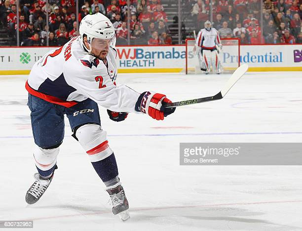 Matt Niskanen of the Washington Capitals skates against the New Jersey Devils at the Prudential Center on December 31 2016 in Newark New Jersey The...