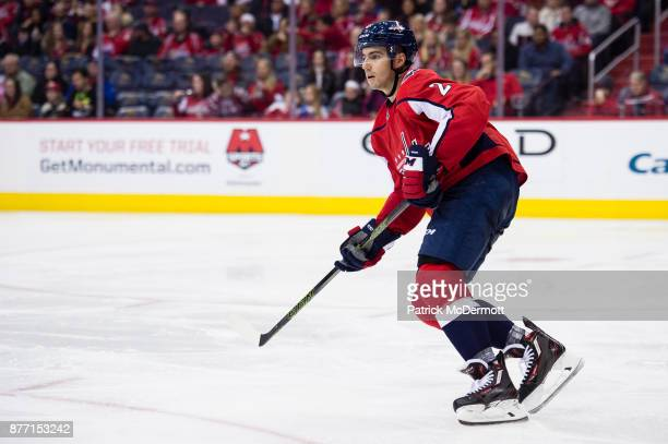 Matt Niskanen of the Washington Capitals skates in the second period against the Minnesota Wild at Capital One Arena on November 18 2017 in...