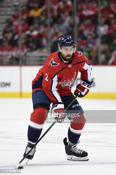 Matt Niskanen of the Washington Capitals skates with the puck against the Minnesota Wild in the first period at Capital One Arena on March 22 2019 in...