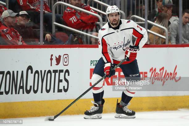 Matt Niskanen of the Washington Capitals skates with the puck during the NHL game against the Arizona Coyotes at Gila River Arena on December 6 2018...