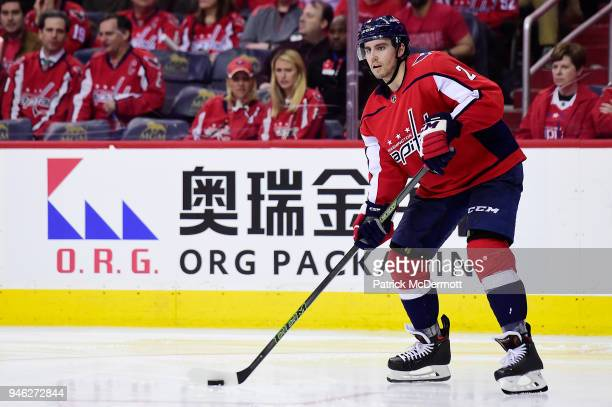 Matt Niskanen of the Washington Capitals skates with the puck in overtime against the Columbus Blue Jackets in Game One of the Eastern Conference...