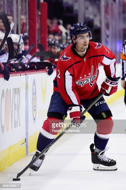 Matt Niskanen of the Washington Capitals skates with the puck in the third period against the Columbus Blue Jackets in Game One of the Eastern...