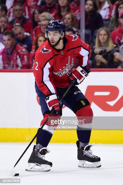 Matt Niskanen of the Washington Capitals skates with the puck in the second period against the Columbus Blue Jackets in Game Five of the Eastern...