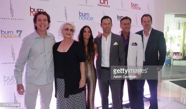 """Matt Nix, Sharon Gless, Gabrielle Anwar, Jeffrey Donovan, Bruce Campbell and Jack Coleman arrive at wrap party for """"Burn Notice"""" at Fontainebleau..."""