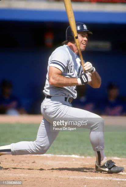 Matt Nokes of the New York Yankees bats against the Atlanta Braves during an Major League Baseball spring training game circa 1991 in West Palm Beach...