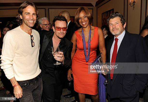 Matt Nye Bono Gayle King and Jann Wenner backstage at SpiderMan Turn Off The Dark Broadway opening night at Foxwoods Theatre on June 14 2011 in New...
