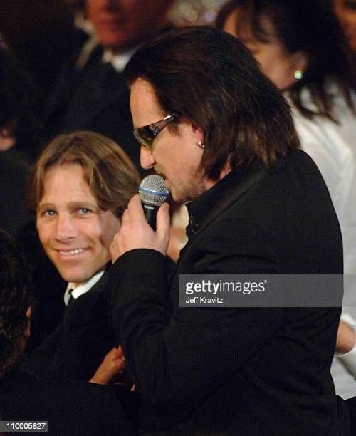 Matt Nye with Bono of U2, inductee during 20th Annual Rock and Roll Hall of Fame Induction Ceremony - Show at Waldorf Astoria Hotel in New York City,...