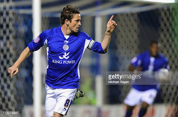 Matt Oakley of Leicester celebrates scoring to make it 11 during the npower Championship match between Leicester City and Crystal Palace at the...