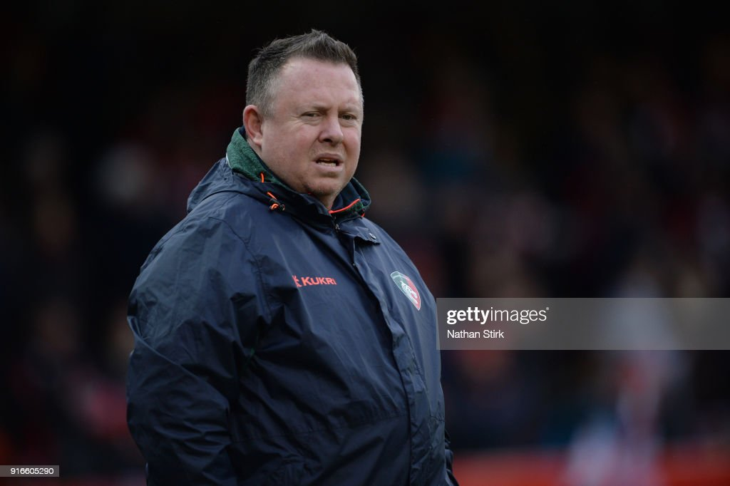 Matt O'Connor head coach of Leicester Tigers looks on during the Aviva Premiership match between Gloucester Rugby and Leicester Tigers at Kingsholm Stadium on February 10, 2018 in Gloucester, England.