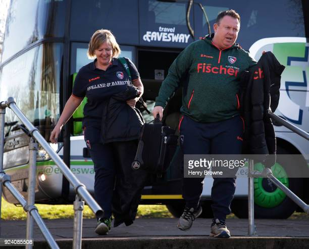 Matt O'Connor of Leicester Tigers arrives for the Aviva Premiership match between Saracens and Leicester Tigers at Allianz Park on February 25 2018...