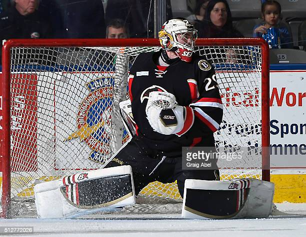 Matt O'Connor of the Binghamton Senators stops a shot against the Toronto Marlies during AHL game action on February 24 2016 at Ricoh Coliseum in...