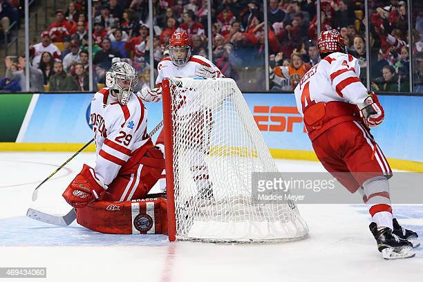 Matt O'Connor of the Boston University Terriers allows a goal against the Providence Friars during the third period of the 2015 NCAA Division I Men's...