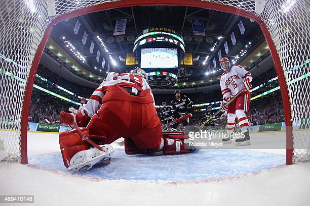 Matt O'Connor of the Boston University Terriers allows a goal shot by Anthony Florentino of the Providence Friars in the first period during the 2015...