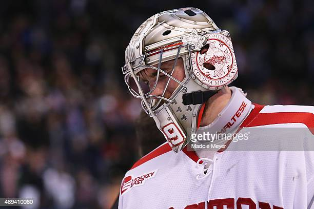 Matt O'Connor of the Boston University Terriers looks on after the 2015 NCAA Division I Men's Hockey Championships against the Providence Friars at...