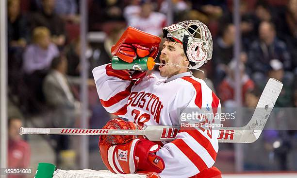 Matt O'Connor of the Boston University Terriers takes a drink of water during NCAA hockey against the Maine Black Bears at Agganis Arena on November...