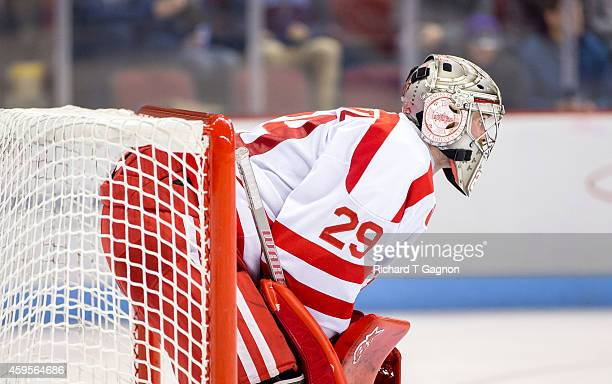 Matt O'Connor of the Boston University Terriers tends goal during NCAA hockey against the Maine Black Bears at Agganis Arena on November 21 2014 in...