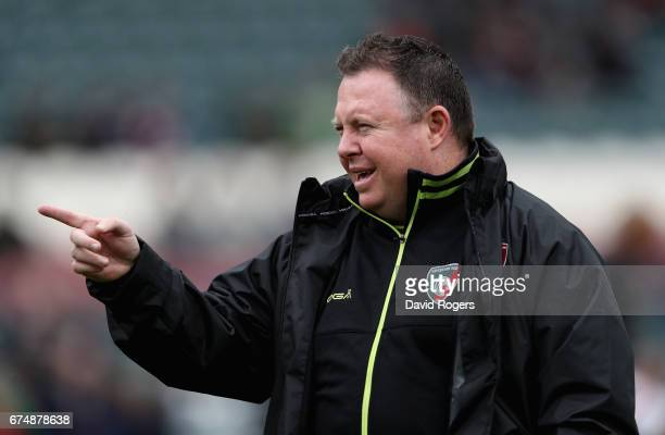 Matt O'Connor the Leicester director of rugby issues instructions during the Aviva Premiership match between Leicester Tigers and Sale Sharks at...