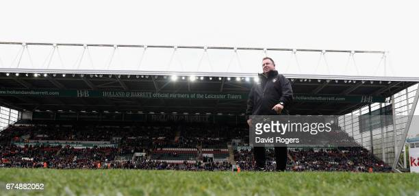 Matt O'Connor the Leicester director of rugby walks off the pitch prior to the Aviva Premiership match between Leicester Tigers and Sale Sharks at...