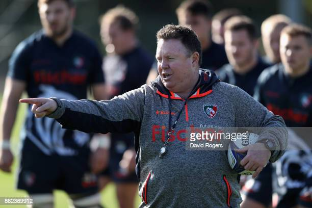 Matt O'Connor the Leicester Tigers director of rugby issues instructions during the Leicester Tigers training session held on October 17 2017 in...
