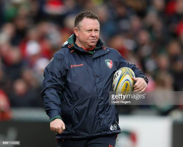 Matt O'Connor the Leicester Tigers director of rugby looks on prior to the Aviva Premiership match between Leicester Tigers and Saracens at Welford...