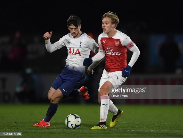 Matt of Arsenal challenges Troy Parrott of Tottenham during the match between Arsenal U18 and Tottenham Hotspur U18 in the FA Youth Cup 4th Round at...