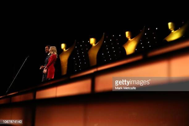 Matt Okine and Kate Jenkinson present the AACTA Award for Best Short Animation during the 2018 AACTA Awards Presented by Foxtel | Industry Luncheon...