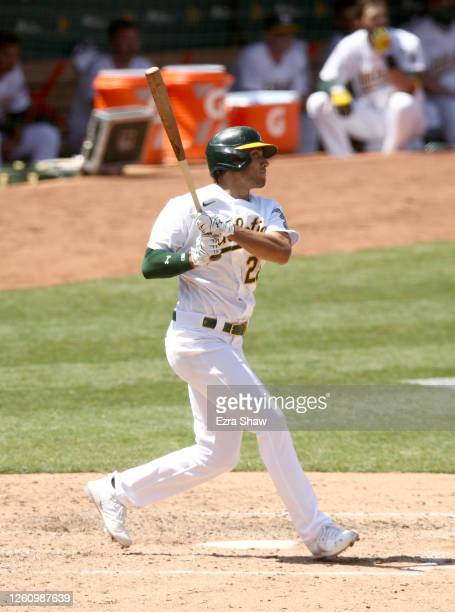 Matt Olson of the Oakland Athletics bats against the Los Angeles Angels at Oakland-Alameda County Coliseum on July 25, 2020 in Oakland, California....
