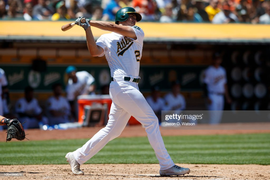 Matt Olson #28 of the Oakland Athletics hits a home run against the San Francisco Giants during the sixth inning at the Oakland Coliseum on July 22, 2018 in Oakland, California. The Oakland Athletics defeated the San Francisco Giants 6-5 in 10 innings.