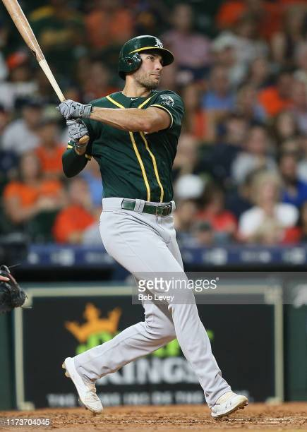 Matt Olson of the Oakland Athletics hits a two run home run in the third inning against the Oakland Athletics at Minute Maid Park on September 10,...